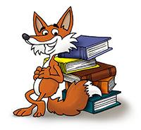 Findus, der Comic-Fuchs vor einem Bücherstapel
